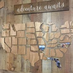 This beautifully crafted wooden map of the United States is a perfect way to showcase the memories youve made throughout your travels. Includes all 50 states. 38 x thick finished plywood. DOES NOT include adventure signs or backdrop. Wooden Map, Creation Deco, Home And Deco, Adventure Awaits, My New Room, My Dream Home, Dream Homes, Home Projects, Future House
