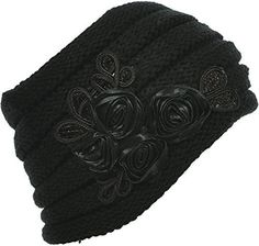 3547b8e4ec9 Hand By Hand Aprileo Women s Floral Knitted Headband Sequins Satin Headwrap  – Caps   Hats for Everyone