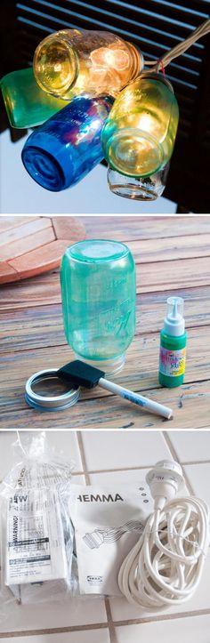 55 Ideas for diy decorations outdoor wine bottles - Beleuchtung Wine Bottle Crafts, Mason Jar Crafts, Wine Bottles, Mason Jars, Canning Jar Lights, Diy Bags Patterns, Small Lanterns, Diy Outdoor Kitchen, Dollar