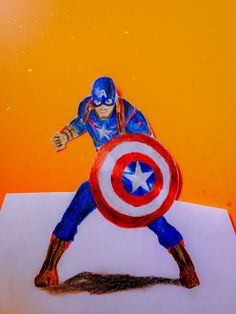 Drawing 3D Art - Captain America (Time lapse) | HpArtNetwork 09 &25 hf4hs
