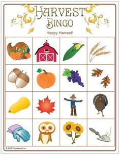 Harvest Picture Bingo - harvest party game for the kids.