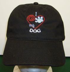 New Custom Embroidered I LOVE MY DOG Cap Black Hat Heart Paw Print Baseball on Ebay and Etsy embroidered here in my shop in Bagwell, TX by me, Karen Hall at CowgirlsLoft !!