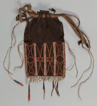American Indian Art:Beadwork and Quillwork, An Eastern Woodlands Quilled Hide Drawstring Pouch. c. 1756...