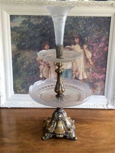 Acid-Cut Glass Trumpet Vase French Art Victorian Epergne Tazza Center Piece. Three tier acid cut glass perfectly proportion crystal cut glass trays rest on ornate. This Victorian glass trumpet vase and platters feature expert acid cut-back techniques. | eBay!