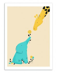 Art-Poster and prints Wall Editions : Elephant and Giraffe, by Jay Fleck. Illustration for babies and kids Format : 50 x 70 cm.