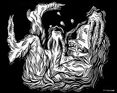 """Tickle Monster - Fine Art Giclee PRINT 8x10"""" [Relief Woodcut, Whimsy, Beast, Laughing] by GraciousPaints on Etsy https://www.etsy.com/listing/259515603/tickle-monster-fine-art-giclee-print"""