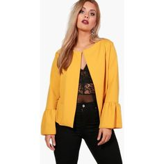 Boohoo Plus Kate Ruffle Hem Collarless Jacket (€13) ❤ liked on Polyvore featuring outerwear, jackets, sporty jacket, padded bomber jacket, yellow padded jacket, bomber style jacket and duster coats