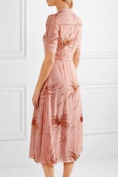 Miu Miu - Ruffled Metallic Embroidered Georgette Midi Dress - Blush - IT38