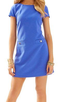 Lilly Pulitzer Layton Short Sleeve Shift Dress in Iris Blue