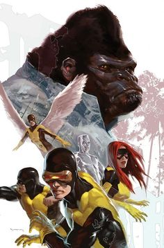 Original X-Men and Gorilla Man by Marko Djurdjevic. This would make an awesome poster.