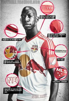 New York Red Bulls 2015 adidas Home Soccer Jersey, Football Shirt, Kit, Camiseta de Futbol