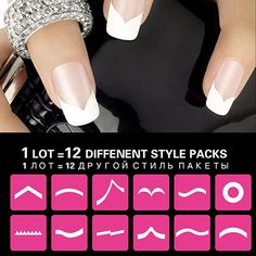 Hot Sale Women 12 Pcs French Stencil Nail Art Form Fringe Guides Manicure DIY Stickers Tips