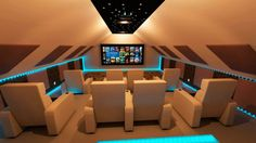 cool home theater with blue lighting