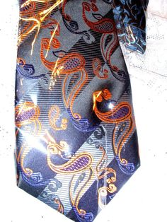 MEN ACCESSORIES BLACK GOLD BLUE PAISLEY 100% Silk Jacquard Woven NECK TIE #KAILONG #NeckTie