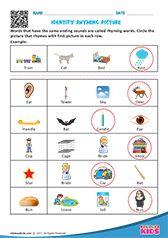 Rhyming pictures Beginning Sounds Worksheets, English Worksheets For Kindergarten, Printable Preschool Worksheets, English Worksheets For Kids, Alphabet Worksheets, Kids Worksheets, Preschool Phonics, Preschool Writing, Rhyming Pictures