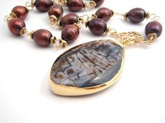 Chocolate Brown Pearl Necklace With Agate by BellaBeadsOriginals