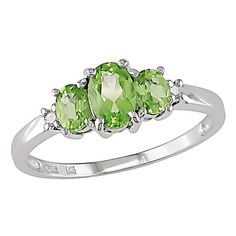 Miadora 10k White Gold Peridot and Diamond 3-stone Ring ($143) ❤ liked on Polyvore featuring men's fashion, men's jewelry, men's rings, rings, jewelry, mens white gold diamond ring, mens green ring, mens white gold rings, mens peridot ring and mens diamond rings