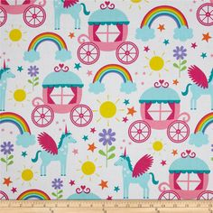Michael Miller Happy Tones Rainbows & Unicorns Princess from @fabricdotcom  From Michael Miller, this cotton print is perfect for quilting, apparel and home decor accents.  Colors include white, pink, aqua, purple, teal, red, orange, yellow and green.  This fabric also features small white dots printed on the white background of the fabric.