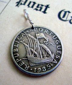 Coin Jewelry Vintage 1985 Portugal COIN by FindsAndFarthings