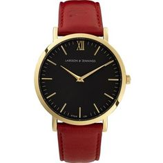 LARSSON & JENNINGS Lader Red gold-plated and leather watch