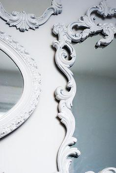 White antique style mirror frames