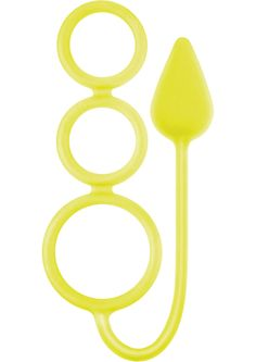 Buy Renegade 3 Ring Circus Silicone Anal Plug With Cockrings Neon Yellow 13.5 Inch online cheap. SALE! $15.49
