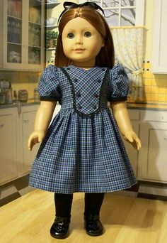 Empress' Secret Closet ~ Blue Plaid Bibbed Frock by KeepersDollyDuds Sewing Doll Clothes, Girl Doll Clothes, Doll Clothes Patterns, Girl Dolls, Doll Patterns, Ag Dolls, American Girl Doll Molly, American Girl Clothes, American Girls