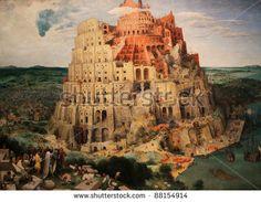 """""""Turmbau von Babel (Babylon), ein berühmtes Gemälde von Pieter Brueghel der Ältere ;1563 erstellt."""""""