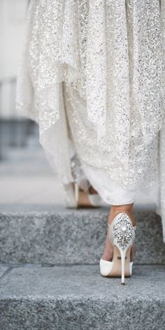 Show off your stunning bridal shoes while still incorporating the details of your wedding dress in your wedding photos - especially if your shoes are full of glitter and sequins! Bridal Shoes Inspiration for your wedding day // Extra Special Touch Perfect Wedding, Dream Wedding, Wedding Day, Rustic Wedding, Gold Wedding, Light Wedding, Wedding Country, Gatsby Wedding, Winter Wedding Shoes