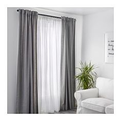 IKEA - MATILDA, Skira gardiner, 1 par, Skira gardiner släpper igenom dagsljus men hindrar insyn, perfekt för en lager-på-lager lösning till ditt fönster.Hällorna i ovankant gör att du kan hänga gardinerna direkt på en gardinstång.