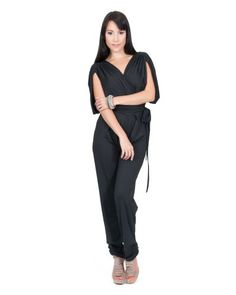 Koh Koh Women's Designer Grecian Inspired Batwing Slimming Short sleeve Playsuit Jumpsuit Pants - X-Large - Black - A beautiful designer jumpsuit from Koh Koh. This wonderfully slimming design features batwing styled sleeves, a crossover V-Neck and a
