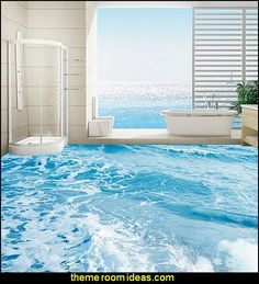 Seawater spray floor 3d mural PVC wallpaper