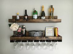 (X-LONG) Rustic Wood Wine Rack Wall Mounted Shelf & Hanging Stemware Glass Holder Organizer Bar Shelf Unique Wine Rack Shelf, Wine Glass Shelf, Bar Shelves, Wood Wine Racks, Wine Glass Holder, Wine Rack Wall, Wall Mounted Shelves, Wood Shelves, Glass Shelves