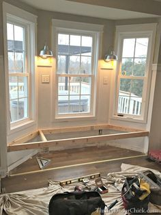 Steps to building a window seat. A dream of mine for years finally come true!