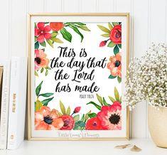Printable Bible Verses Art Printable flowers Scripture Print nursery wall art decor nursery bible verse quote Psalm 118:24 id139