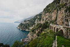Arched bridge on the Amalfi Coast Italy