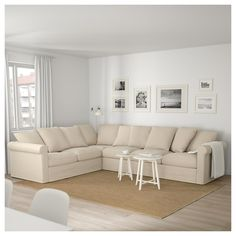 GRÖNLID Corner sofa, with chaise longue/Inseros white, Height including back cushions: 104 cm - IKEA Ikea Sofas, Deep Seat Cushions, Chair Cushions, Ikea Family, Living Room Sectional, White Sectional Sofa, White Ikea Couch, Couches, Large Sofa