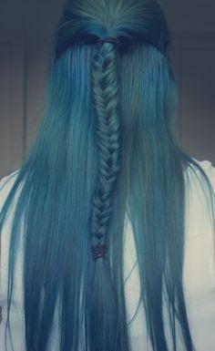 blue dye job. mermaid braid crazy.