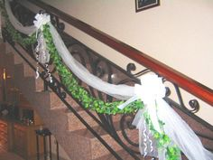 Image detail for -stairs decoration stairs decoration with tulle garland and bows go . Wedding Stairs, Tulle Garland, Stair Railing, Railing Ideas, Stair Decor, Basement Stairs, Stairway To Heaven, Diy Party Decorations, Wedding Planning