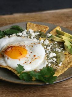 CHILAQUILES VERDES WITH A FRIED EGG