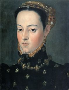 Portrait of a Daughter of Ferdinand I (Elena or Barbara ?), attributed to Giuseppe Arcimboldo, ca. 1563. Vienna, Historisches Museum