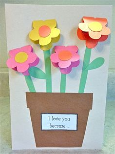 """Mother's Day Construction Paper Vase - Fun Family Crafts This Mother's Day project is easy to make and doesn't require many supplies. The flower pot reads """"I love you … Mothers Day Crafts For Kids, Paper Crafts For Kids, Mothers Day Cards, Crafts To Do, Easy Crafts, Construction Paper Flowers, Construction For Kids, Construction Crafts, Paper Vase"""