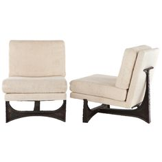 """Paul Evans Lounge Chairs  USA  1967  Rare pair of Paul Evans studio lounge chairs Welded and patinated steel frames with upholstered seats.Signed """"Paul Evans 1967"""" to chairs underside"""