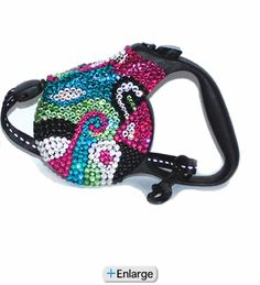 Swarovski Crystal Retractable Dog Leash in Groovy Paradise Pink at Yuppy Puppy!