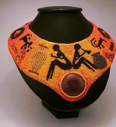 Купить Колье Петроглифы - колье из бисера, колье, африка, петроглифы, васильева, этническая