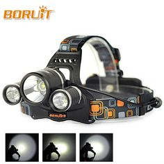 Boruit RJ-3001 8000 Lumens 3T6 Linterna Frontal 3x XML T6 LED Headlamp 4 Light Modes Super Bright Head Torch Light For Hunting #Affiliate