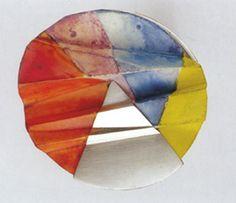 Klimt02: Blogs-ALENA NOVAKOVA-CZ *1929 - †1997,   Brooch 1986, silver, paper, ink  Collection of the Museum of Bohemian paradise, Turnov