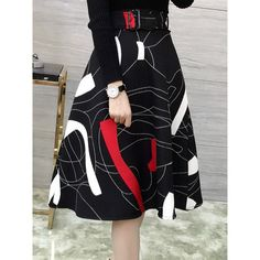 Graceful Abstract Print A-Line Women's Midi Skirt