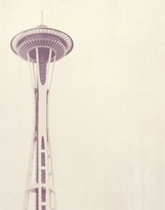 Seattle photography, photo of Space Needle, Sleepless, urban architecture, minimalist decor, neutral pale white winter gray, PNW travel
