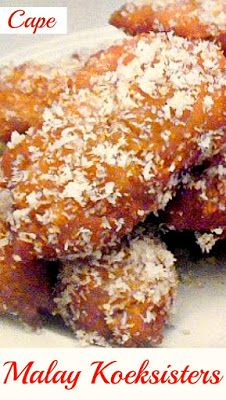 Cape Malay Koeksisters (also pronounced Koesisters) are sticky, syrupy sweet treats. A South-African delicacy not to be missed South African Desserts, South African Dishes, West African Food, South African Recipes, Africa Recipes, Donut Recipes, Baking Recipes, Dessert Recipes, Cake Recipes